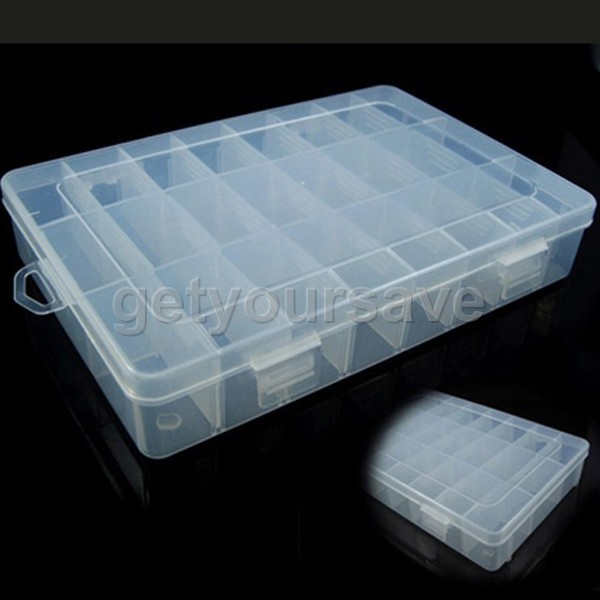 Clear Adjustable Jewelry Bead Organizer case Storage Container Box 24 Grid