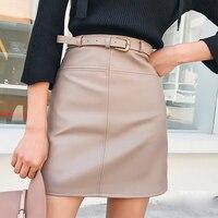 Зимняя бежевая черная трапециевидная юбка из искусственной кожи для женщин с высокой талией, офисные юбки, короткая женская юбка с поясом
