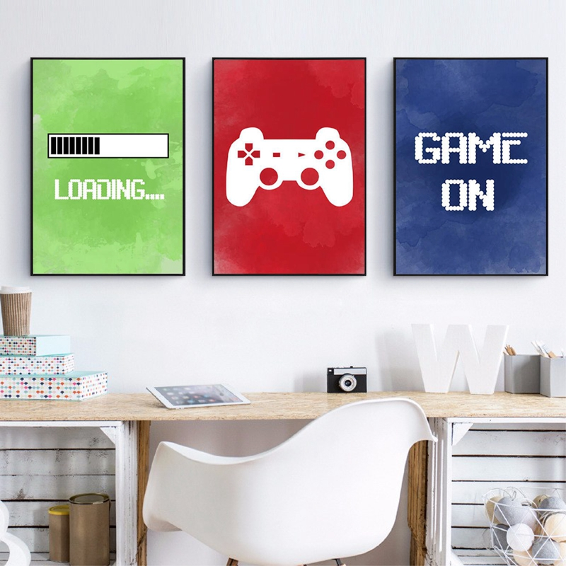 Video Game Wall Art Canvas Posters Prints Gaming Room Decor , Video Game Party Art Painting Pictures Boys Room Wall Decoration