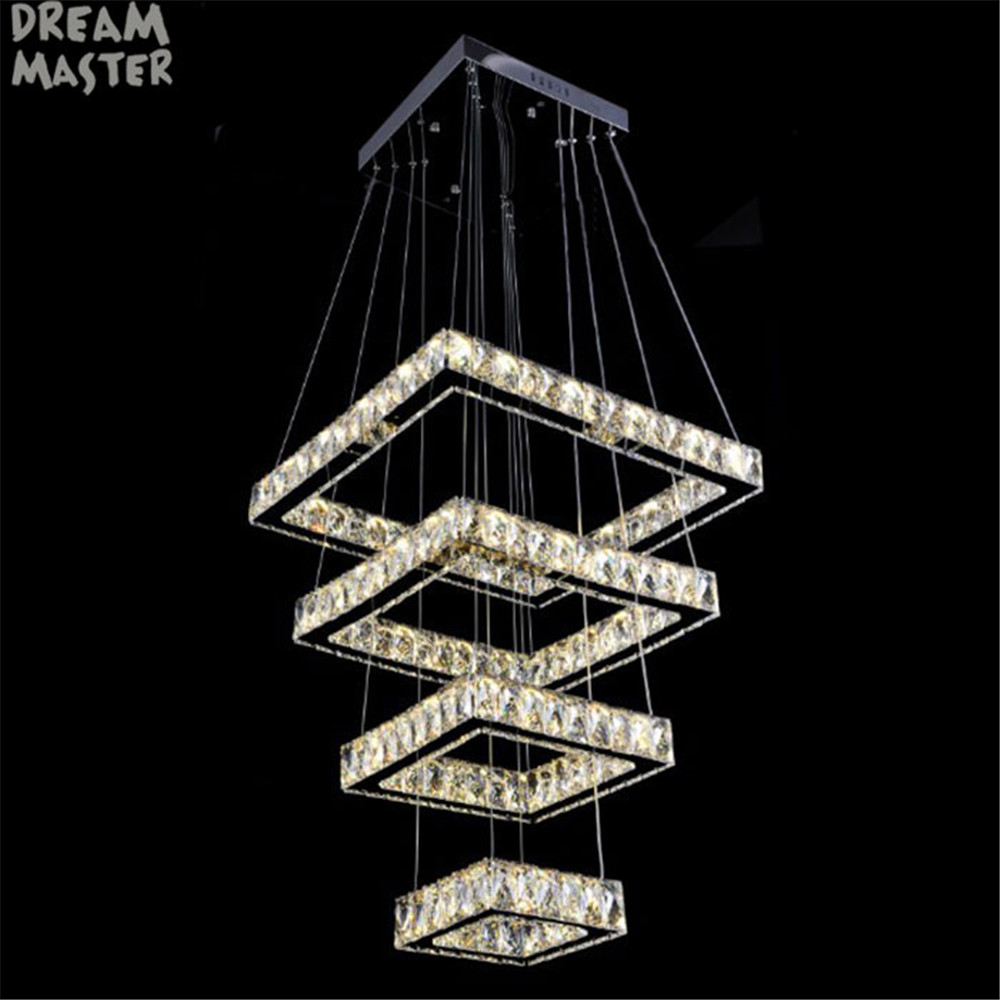 2018 New Modern Square Chandelier Long Rectangle Crystals