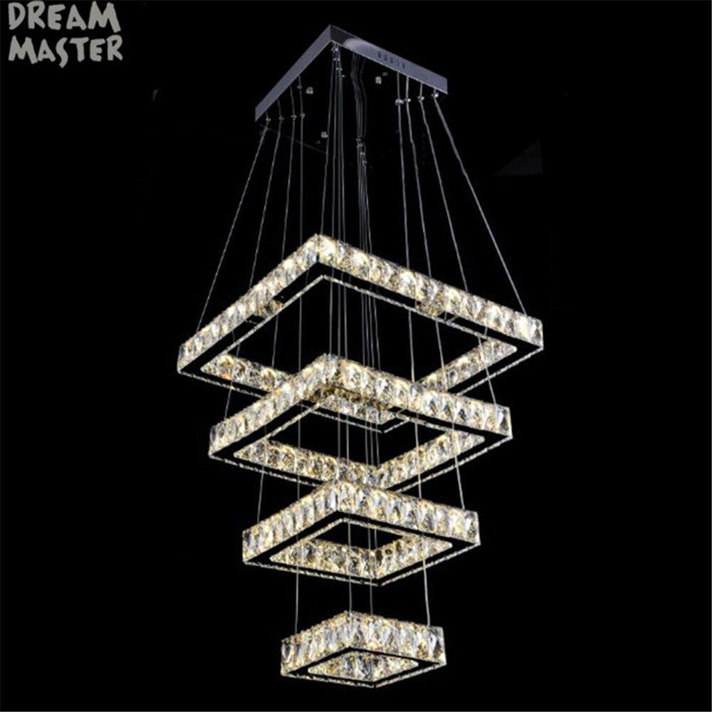 2018 New Modern square Chandelier long rectangle Crystals LED Lamp Hanging Light Fixtures Adjustable Cristal LED Lustre lighting