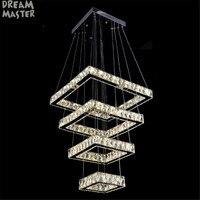 2017 New Modern Square Chandelier Long Rectangle Crystals LED Lamp Hanging Light Fixtures Adjustable Cristal LED