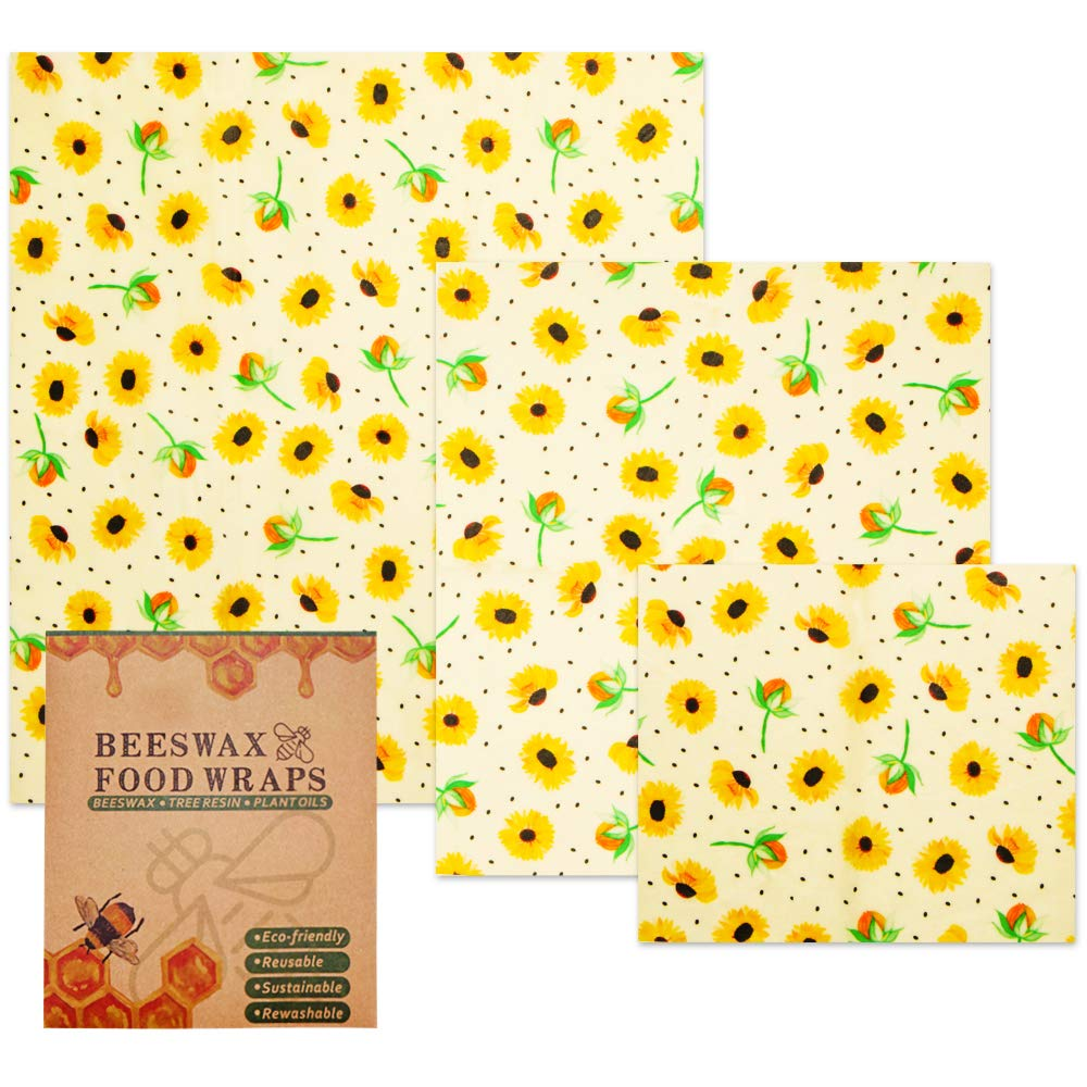 3 PCS Beeswax Food Wraps Sets Small Medium and Large Food Covers Reusable Eco Friendly Washable