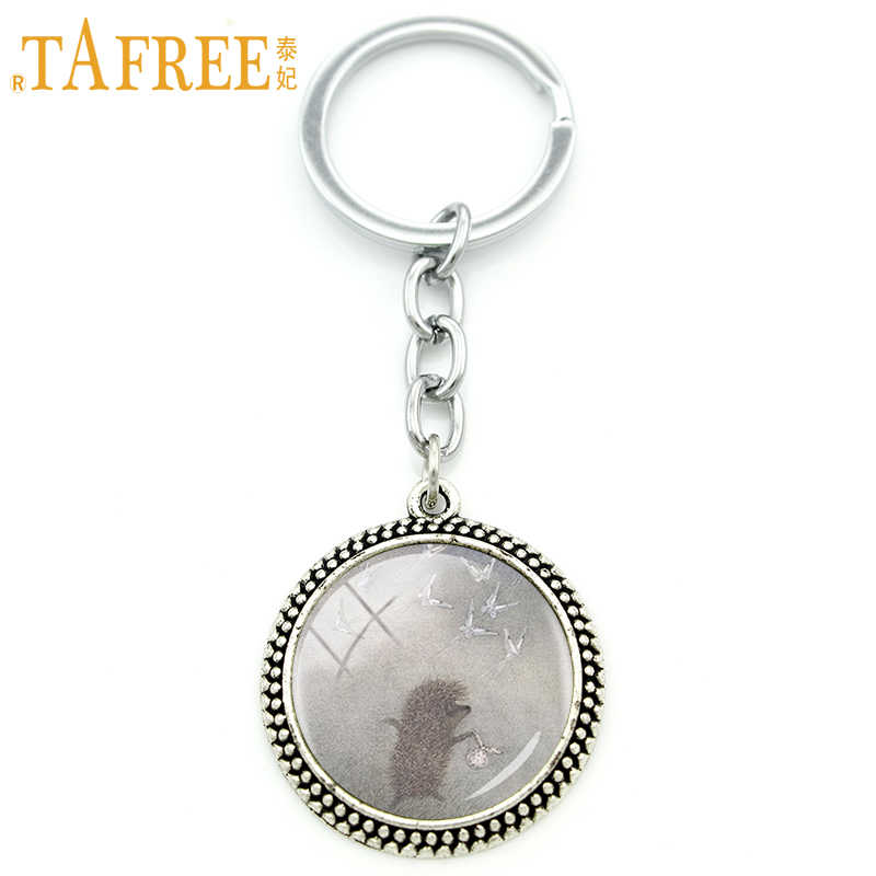 Llavero para hombre TAFREE Hedgehog In The Fog, llavero de moda hecho a mano, joyería de metal de estilo animal de vidrio redondo H224
