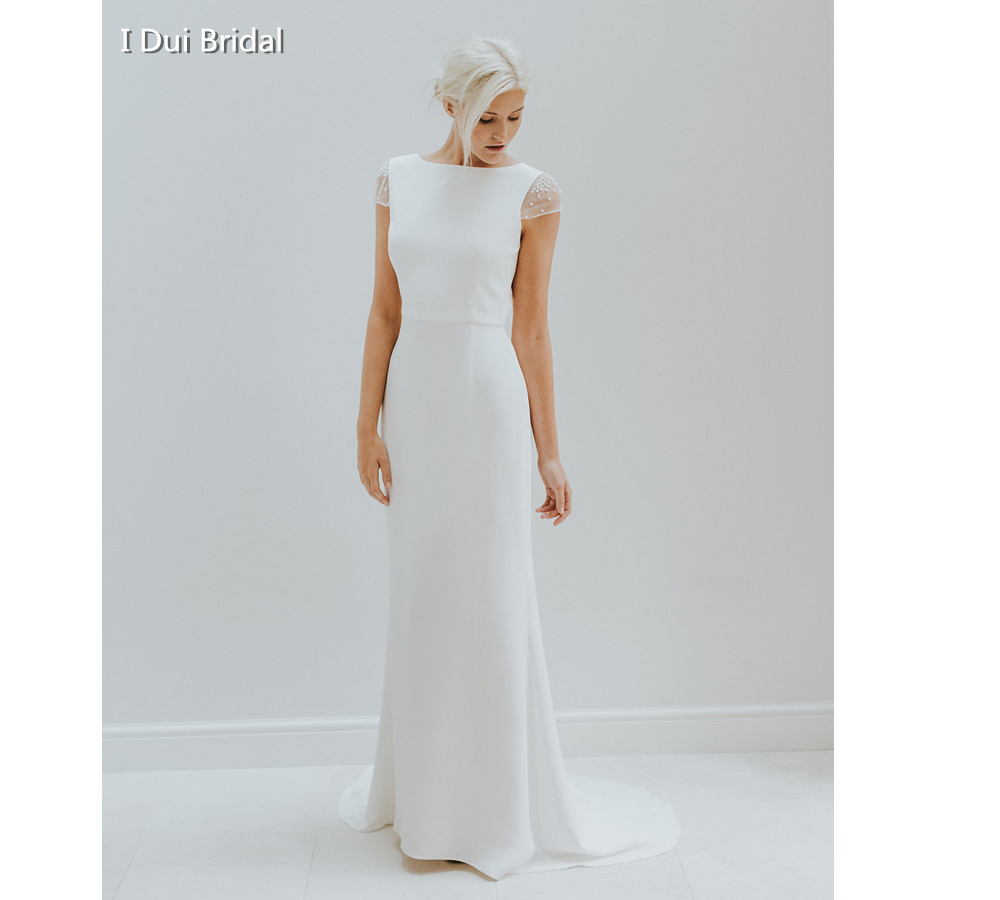 Simple Cap Sleeve Wedding Dress Low Back High Quality Satin Sheath Keyhole Back Unique Bridal Gown