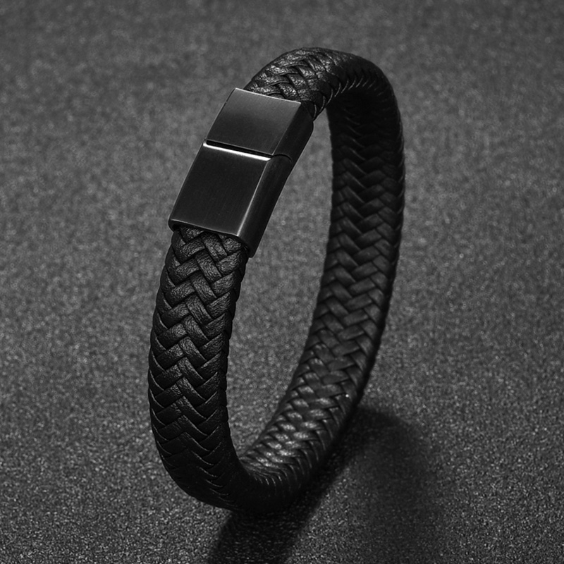 Jiayiqi Punk Men Braided Leather Bracelet Jewelry Black/Brown Stainless Steel Magnetic Clasp Fashion Bangles 18.5/22/20.5cm
