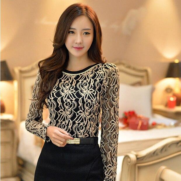 Blusa Talla Larga Ropa blanco Coreana Manga Elegante Encaje Negro Camisa 651e05 Novedad Vintage 2017 Gasa Negro Grande Mujer qA6x0