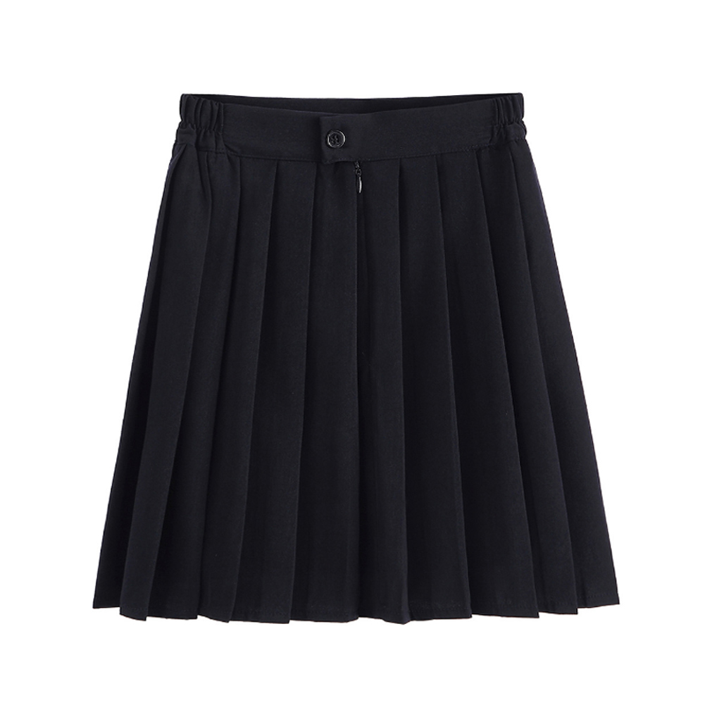 Women Pleated Skirts Elastic Waist Sailor Mini School Uniform Casual Students Skirt -MX8