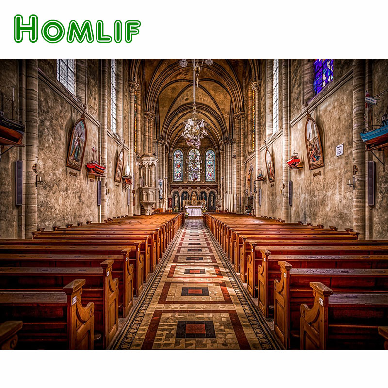 HOMLIF Full Square/Round Drill 5D DIY Diamond Painting Church Religion Bench 3D Embroidery Cross Stitch Mosaic Home Decor Gift