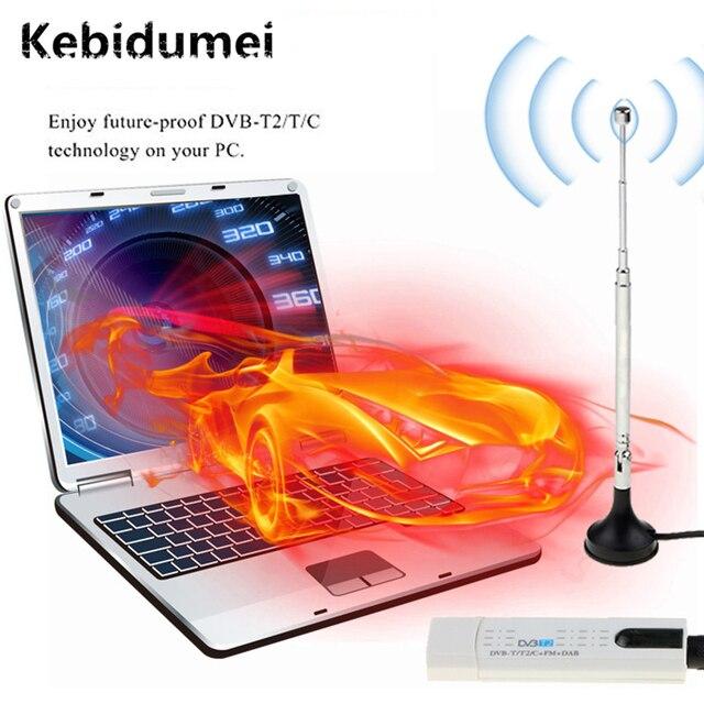 Kebidumei DVB T2/DVB C/FM/DAB 디지털 위성 DVB T2 USB TV 스틱 튜너 HD TV 수신기에 대 한 원격 안테나와 USB TV 스틱