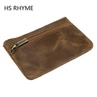HS RHYME Genuine Cow Leather Change Female Purse Coin Purse Male Housekeeper Vintage Wallet Small Clutch