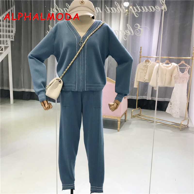 ALPHALMODA 2018 Women New Knit Track Suits V-collar Long-sleeved Cardigans Pencil Trousers Female Fashion Sports Suit 2pcs Set