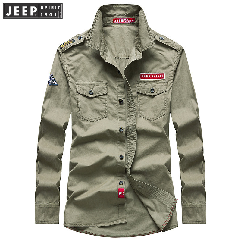 JEEP SPIRIT New Brand Autumn Long Sleeve Shirt Men Military Casual Cotton Breathable Mens Shirts With Epaulette Camisas Hombre