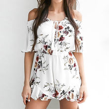 Heyouthoney Bohemian Bloemenprint Rompertjes Sexy Vrouwen Ruche Jumpsuit Korte Off Shoulder Playsuits Strand Bodysuit Overalls Femme(China)