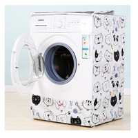 Washing Machine Cover Purple Peony Silver Coating Oxford Cloth Home Sunscreen Washer Dryer Polyester Roller Dust Cover