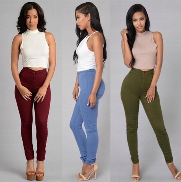 Women Sexy Hip Package Denim Pants High Waist Tight Slim Fit Pencil Pants