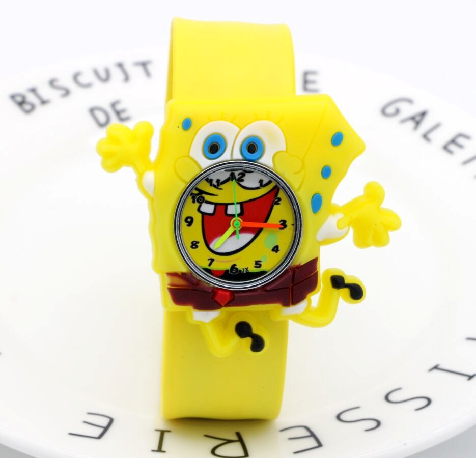 Cartoon SpongeBob Kids Watches Children Toy Watches 3D Eye Loop Student Clock Kid Quartz Wristwatches Girls Boys Baby Gift