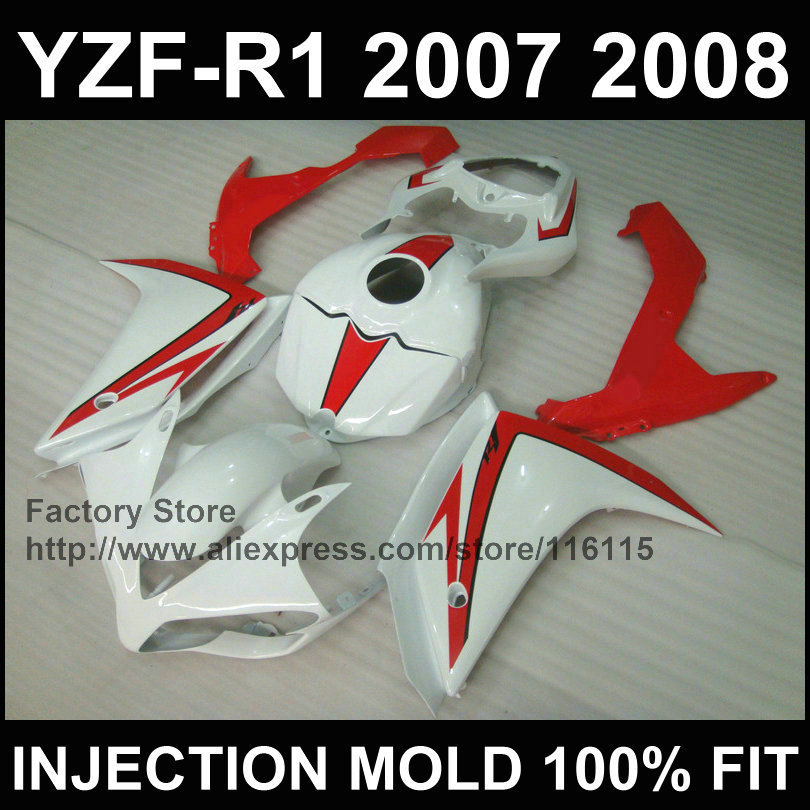 Customize free motorcycle injection ABS fairings kit for YAMAHA 2007 2008 YZF R1 YZFR1 07 08 white red fairing sets+tank cover for yamaha yzf 1000 r1 2007 2008 yzf1000r inject abs plastic motorcycle fairing kit yzfr1 07 08 yzf1000r1 yzf 1000r cb02