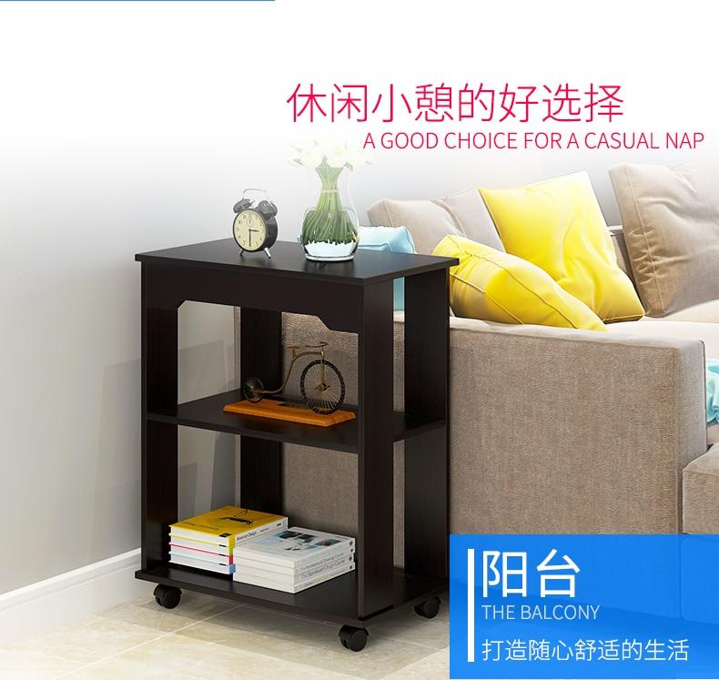 Многофункциональный журнальный столик Современная гостиная диван угловой столик имитация дерева боковые шкафы прикроватная стойка для хранения с колесом