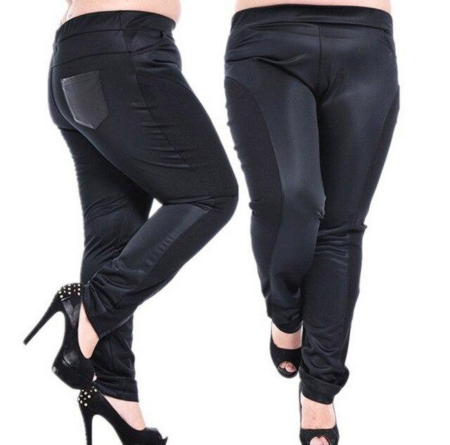 Para mujer pantalones mujer tamaño grande de la PU pantalones de cuero de gran  tamaño de c4e9214cac0d