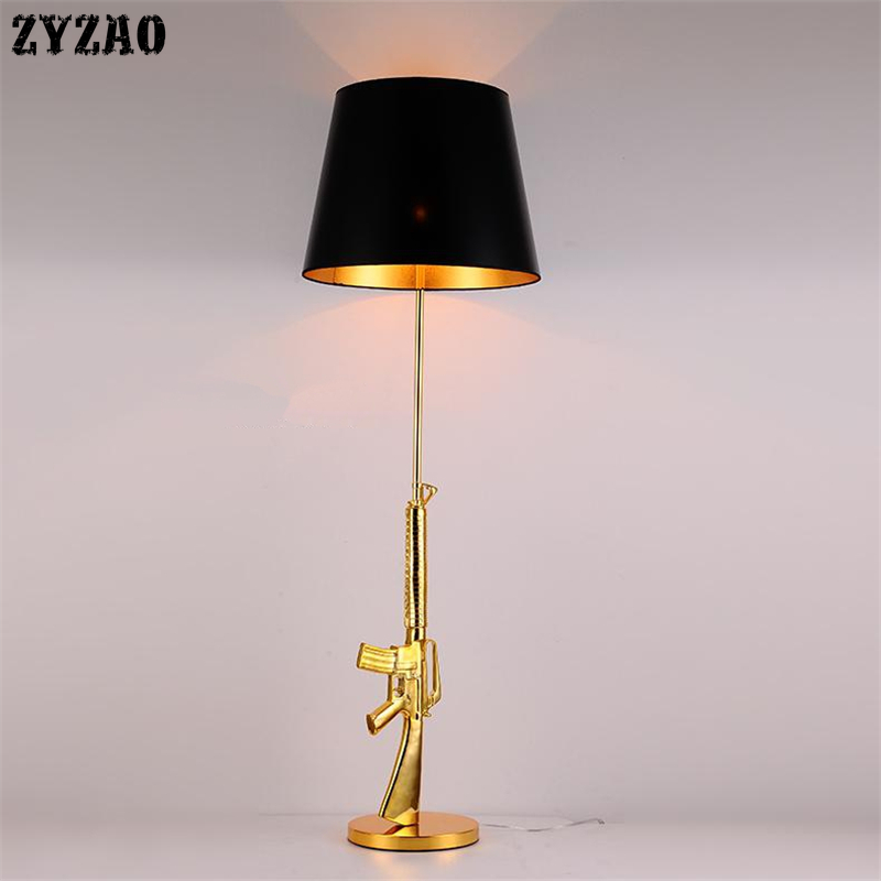 Modern Gold AK47 Table Lamps Bedroom Bedside Lamp Resin LED Stand Desk Lamp for Kids Children Room Lighting Fixtures Home DecorModern Gold AK47 Table Lamps Bedroom Bedside Lamp Resin LED Stand Desk Lamp for Kids Children Room Lighting Fixtures Home Decor