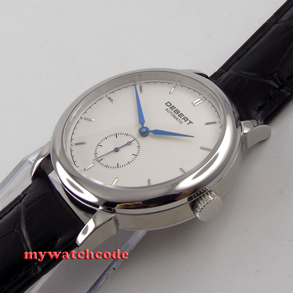 Полированные 40 мм brief deber белый циферблат синие метки автоматические unsex мужские часы 28 - 3