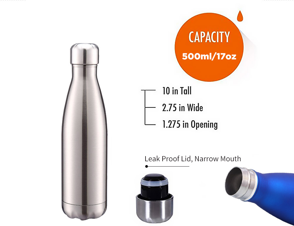 Stainless Steel Water Bottle Double Wall Vacuum Insulated 17oz/500ml Gloss  Flat Rubber Paint BPA Free