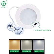 12V LED Under Cabinet Light Motion Sensor IR Silver Round Puck Lamp Display Case Bookcase Indoor Lighting  Lights