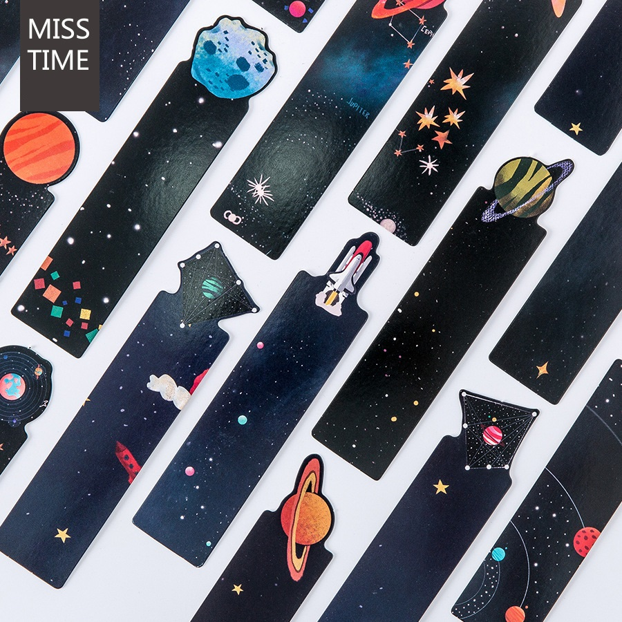 30 Pcs Cartoon Spacer Bookmarks For Reading Books Starry Sky Kids Gifts Office School Supplies Gift Marcador De Livro EC960