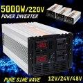 Чистая синусоида Инвертор двойной светодиодный дисплей 5000 Вт мощность Инвертор 12 В/24/48/DC до 220 В AC конвертер