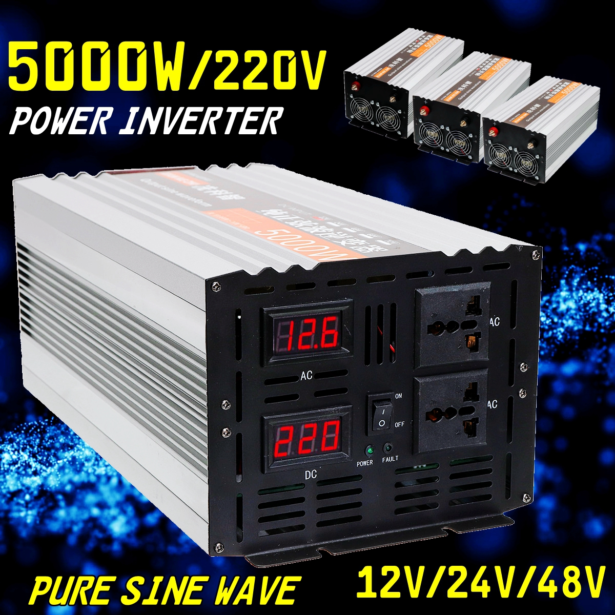 Onduleur onde sinusoïdale pure 2500 w 5000 w P eak DC 12 v/24 v/48 v à AC 220 v Tension Transformateur Converte Double LED affichage numérique