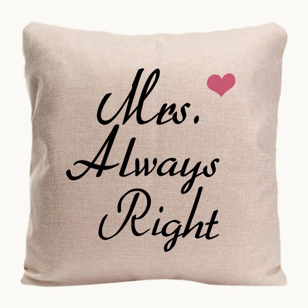 Mr. Right Mrs. Always Right Kussenhoes Home Decoratieve kussensloop - Thuis textiel - Foto 5
