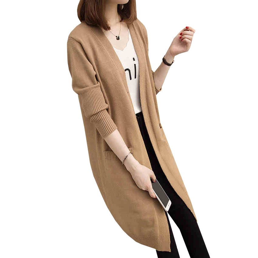 New Long Sweater Cardigan Autumn Winter Women Warm Thick Knitted Cardigans Coat Female Casual Loose Knitted Jacket Clothing A557