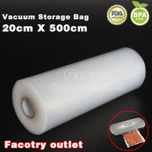 (5 Rolls/ Lot ) 20cm x 500cm Food vacuum heat sealer packaging bag food saving storage film keep fresh up to 6x longer