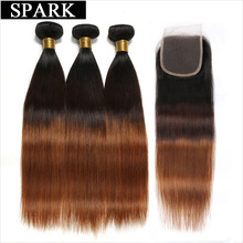 Spark Ombre Straight Human Hair Bundles with Closure T1B / 4/30 Brazilian Remy Hair Weave 3 Bundles with Necklace Closure Free Part