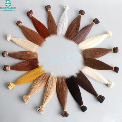 1pcs hair for doll 15cm*100CM short straight hair for 1/3 1/4 BJD doll wig Black khaki b ...