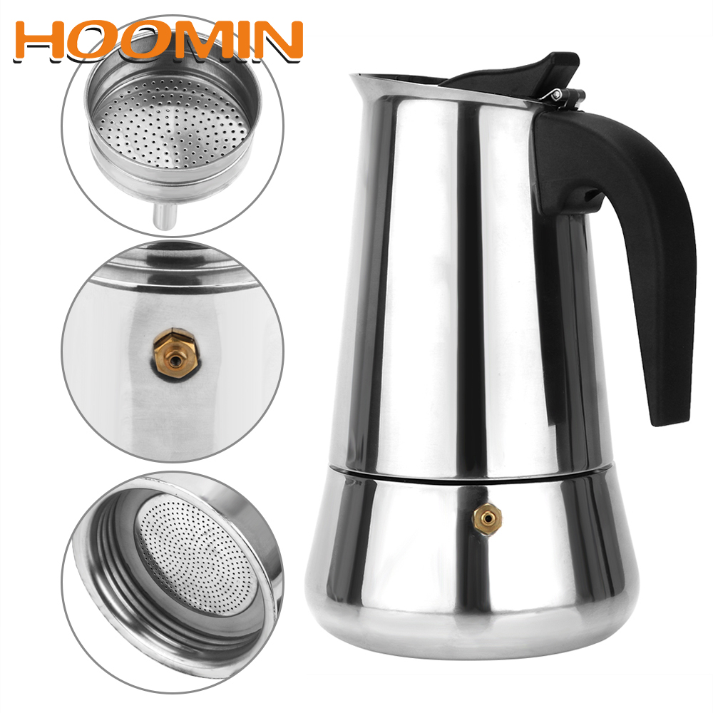 HOOMIN Stainless Steel 300mL/450mL Coffee Pot Kitchen Tools Coffeeware Moka Coffee Maker Teapot
