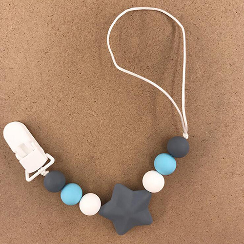 Детские соску клип сеть для детей силиконовый держатель пустышки соску прорезывания зубов с пищевой силиконовая соска для кормления грудных детей - Цвет: GRAY