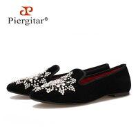 New Style Handmade Big Rhinestone Women Velvet Shoes Party And Wedding Women Loafers Fashion Smoking Slippers