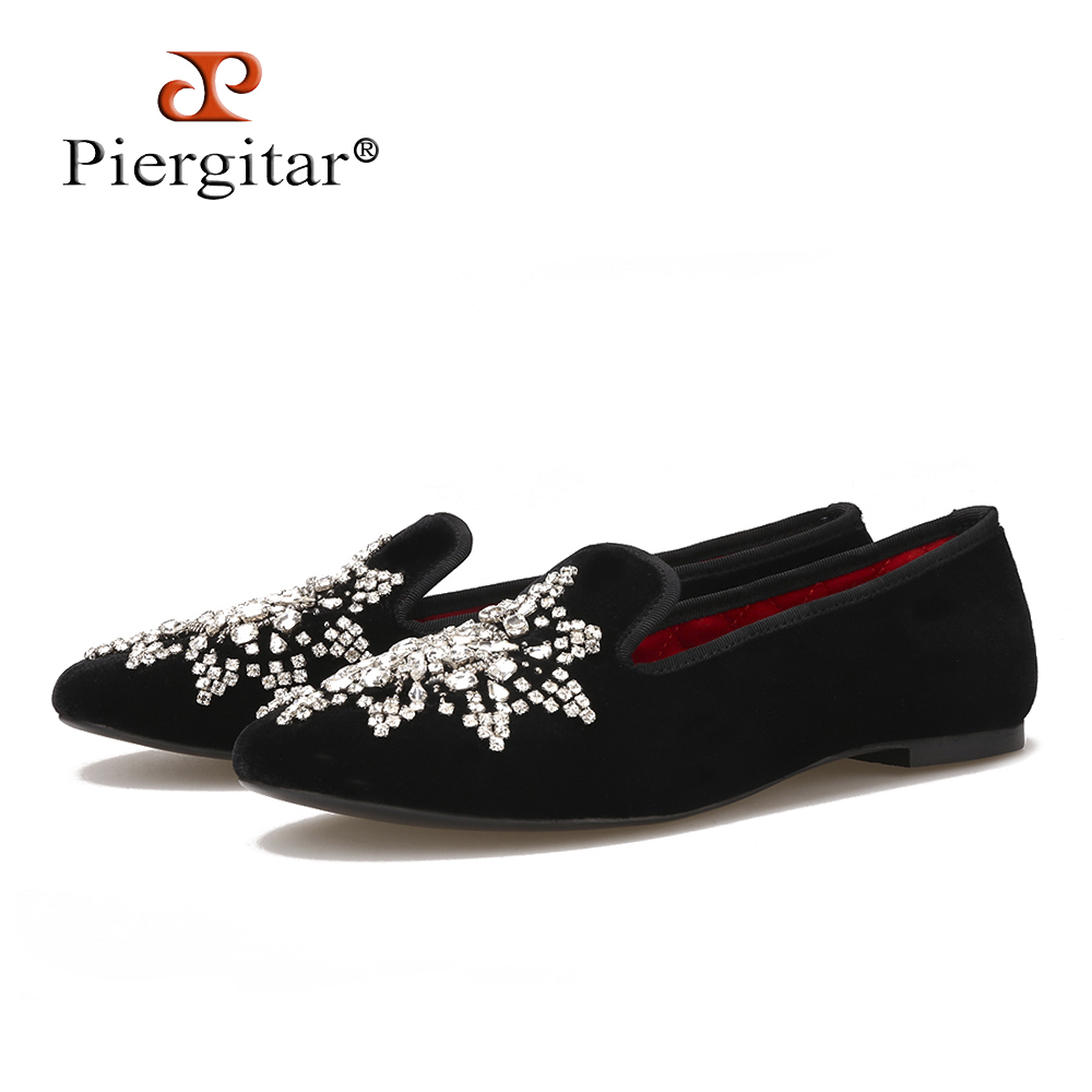 New Style Handmade Big Rhinestone Women Velvet Shoes Party And Wedding Women Loafers Fashion
