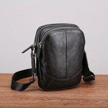 Aetoo couro bolsa de ombro masculino casual moda tendência mini diagonal cruz cabeça camada de couro masculino pequeno saco