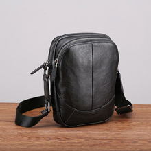 Aetoo 革ショルダーバッグの男性カジュアルなファッショントレンドミニ対角線クロスヘッド層の革メンズスモールバッグ