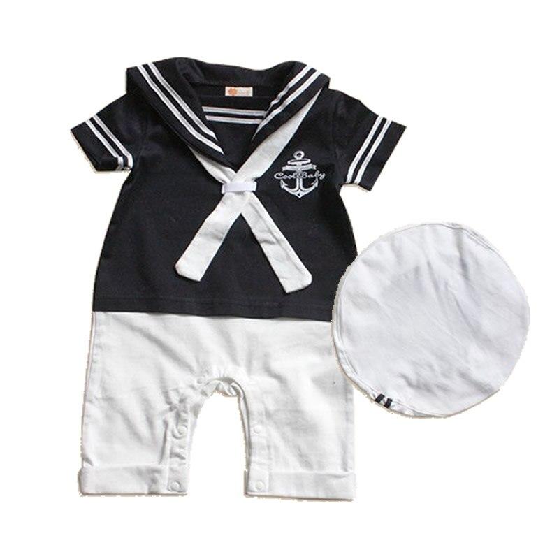 Uniformes de Marinheiro da Marinha macacão de bebê roupas de bebê verão de manga  Curta one pieces macacão + chapéu do bebê roupas das meninas dos meninos ... a10e15fcd71
