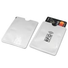 10pcs Aluminum Anti Rfid Reader Blocking Bank Credit Men Women Card Holder Rfid Protection Card Reader Metal Credit Card Holder