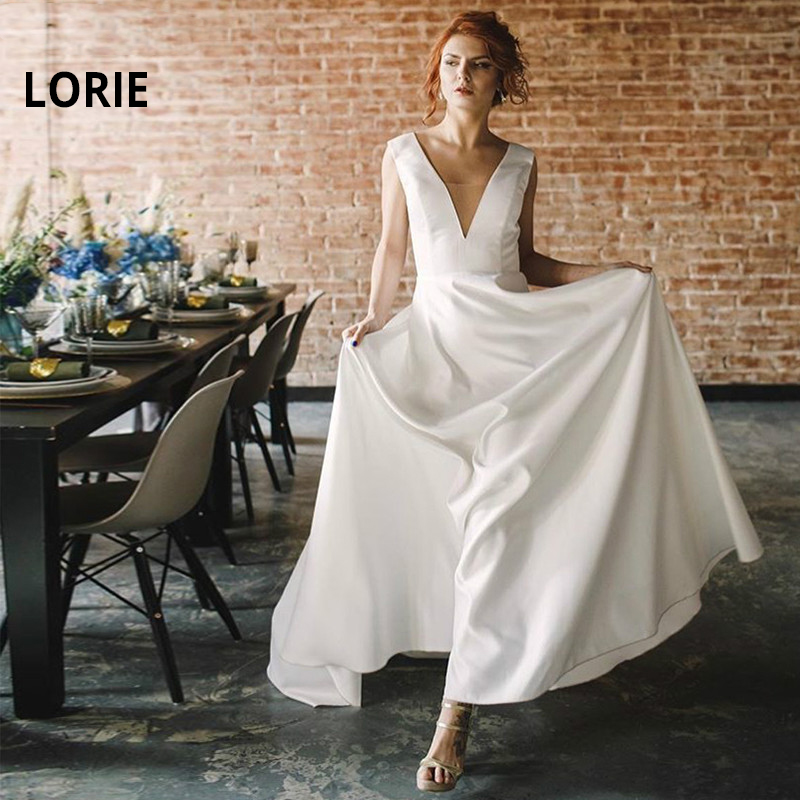 LORIE Full Satin A-Line Wedding Dress 2019 V-Neck Backless Boho Bride Dress Cheap Beach Wedding Gown Whit Ivory Vestido De Noiva