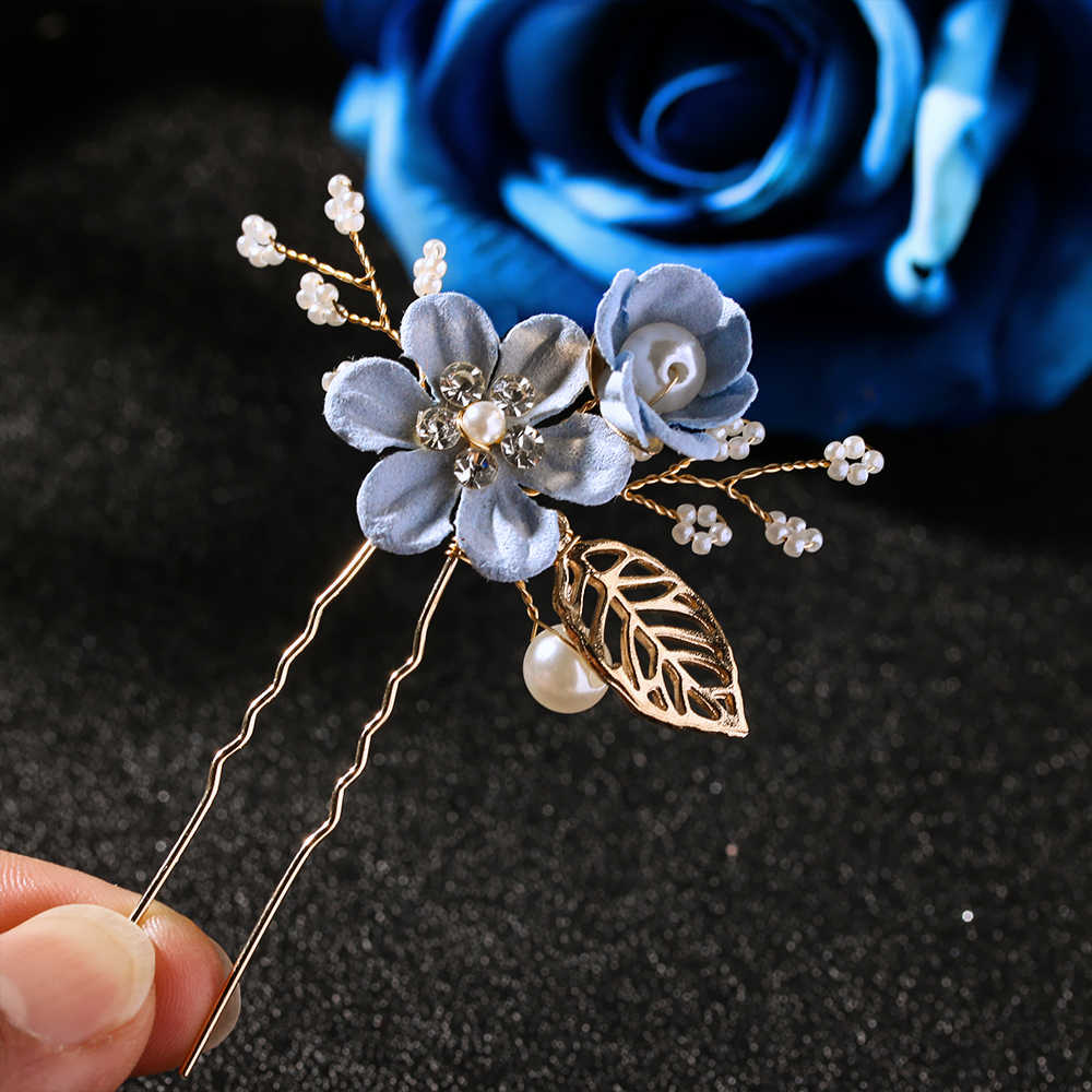 Luxury Red Flower Design Hair Stick Headdress Prom Bridal Wedding Hair Accessories Metal Gold Leavf Hair Jewelry Hair Pins Clips