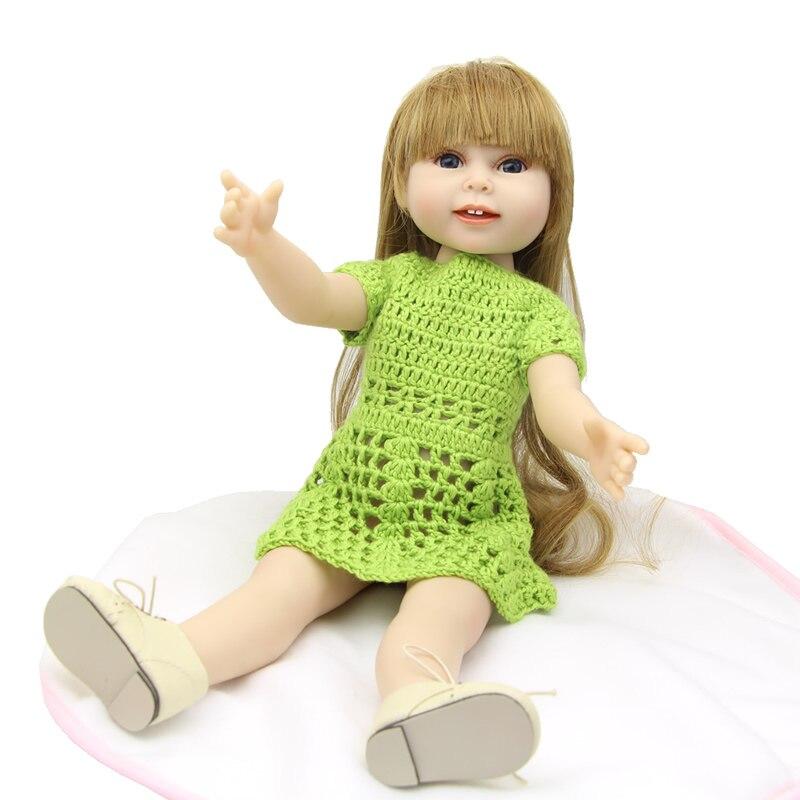 Handmade Full Vinyl American 18 inch Doll Fashion Baby Doll American Girl Simulation Newborn Baby Toys Chilldren Birthday Gift