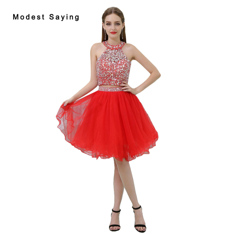 dc3771e5e549 Sexy Red Beaded 2 Pieces Short Homecoming Dress 2017 for Size 18 Girls with  Rhinestone Mini 8th grade Graduation Prom Gowns B031