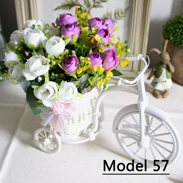 Artificial Silk Tea Rose/Daisy Flowers + Rattan Tricycle Storage Basket Set