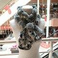 Precioso Bufandas Para Mujer Real Rex Rabbit Fur Scarf Rose Diseño Floral Girls Natural Espesar cuello de Piel de Abrigos de Invierno Suave Silenciador